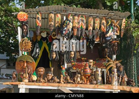 Jamaica Negril beach Rastafari Handicraft Souvenirs - Stock Photo