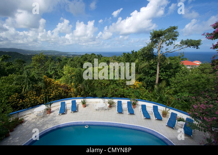 Jamaica Port Antonio Mockingbird Hill Hotel Pool - Stock Photo