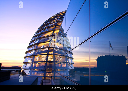 Reichstag buidling roof terasse cupola by Sir Norman forster at twilight, Berlin, Germany, Europe - Stock Photo