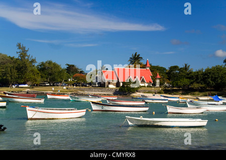 Eglise de Cap Malheureux, boats, Mauritius, Africa - Stock Photo