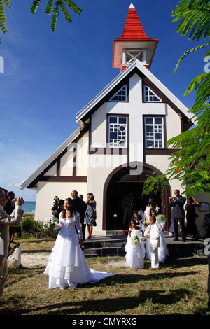 Wedding in Eglise de Cap Malheureux, Mauritius, Africa - Stock Photo