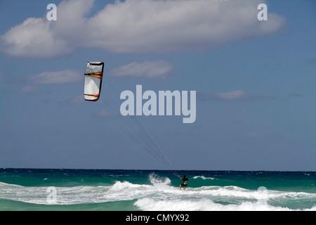 Kite surfer at Playa del Este, Santa Maria Del Mar, near Havanna, Cuba, Greater Antilles, Antilles, Carribean, West - Stock Photo