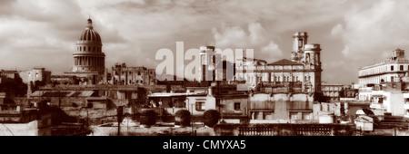 Havanna Vieja, elevated view, Old Havanna Skyline, Panorama, Cuba, Greater Antilles, Antilles, Carribean, West Indies, - Stock Photo