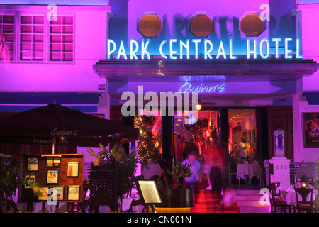 Miami Beach Florida Ocean Drive Art Deco Historic District Park Central Hotel New Year's Eve night nightlife palm - Stock Photo