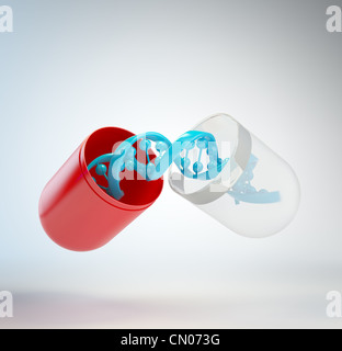 DNA inside a pill - gene therapy concept - Stock Photo
