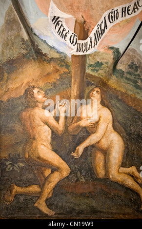 RUSSIA Uglich Russian Orthodox Church of St Dimitrius on the Blood (1630) wall fresco of Adam & Eve - Stock Photo