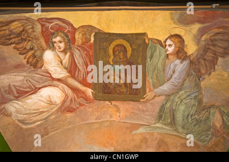 RUSSIA Uglich Russian Orthodox Church of the Nativity of St John the Baptist (1690) fresco with angels - Stock Photo