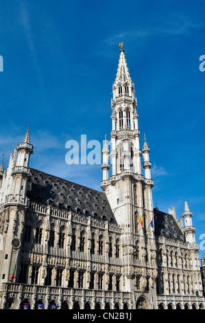 Belgium, Brussels, Grand Place Square, City Hall - Stock Photo