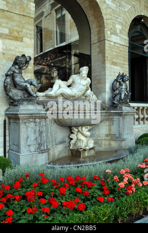 Belgium, Brussels, City Hall, Courtyard, Fountain - Stock Photo