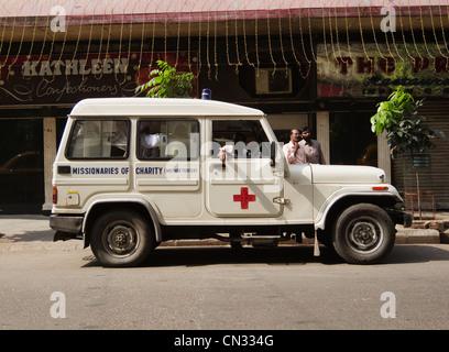 Missionaries of Charity (Mother Teresa) Ambulance, Kolkata, West Bengal, India - Stock Photo