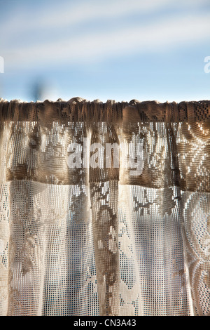 Net curtain in cafe - Stock Photo