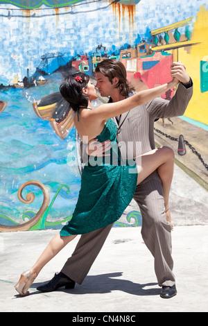 Argentina, Buenos Aires, La Boca district, Caminito tango dancers - Stock Photo