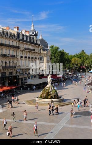 France, Herault, Montpellier, Place de la Comedie, Fontaine des Trois Graces (Fountain of Three Graces) - Stock Photo