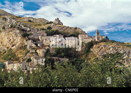 Europe Italy Abruzzo Gran Sasso Monti della laga national Park Province of Pescara Corvara View - Stock Photo