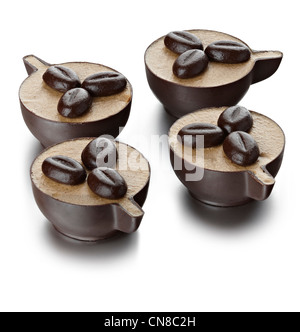 4 chocolate cup coffee ice cream bean desserts - Stock Photo
