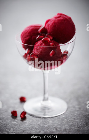 Glass of pomegranate sorbet - Stock Photo