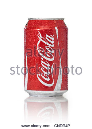 Coca cola can isolated on a white background - Stock Photo