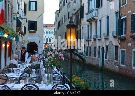 quaint restaurant, area around San Angelo Square, Venice, Italy, Europe - Stock Photo