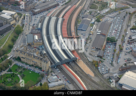 Aerial Photograph of York City Railway Station and surroundings - Stock Photo