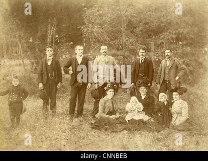 Circa 1900 family group photograph. - Stock Photo