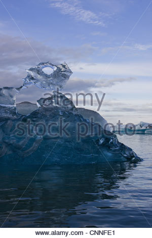 Glacial ice formation in lake - Stock Photo