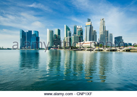 The Central Business District, Singapore City. - Stock Photo