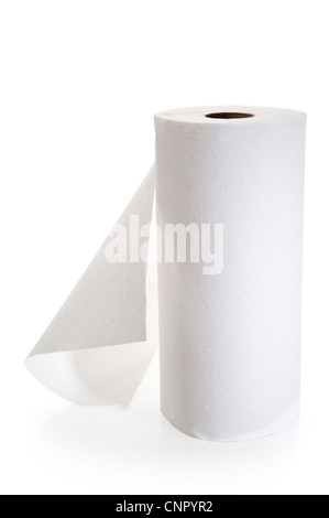 Close-up image of paper towel roll studio isolated on white background - Stock Photo