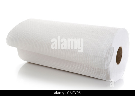 Close-up image of paper towel studio isolated on white background - Stock Photo