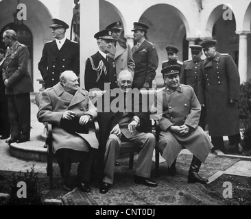 Digitally restored photo of Winston Churchill, Franklin Roosevelt, and Joseph Stalin meeting at The Yalta Conference. - Stock Photo