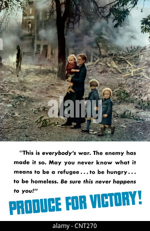 Vintage World War II poster of a women and her three small children walking through the burning remains of a war - Stock Photo