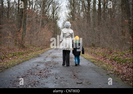 Grandmother and grandson walking in woods, holding hands, rear view - Stock Photo