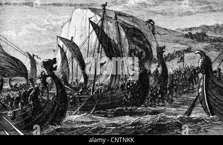 Middle Ages, Vikings, Norman longships, wood engraving by Paterson, 19th century, navigation, transport, transportation, - Stock Photo