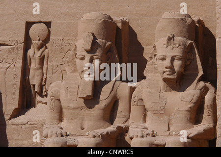 Great Temple decorated with colossal statues of Pharaoh Ramesses II in Abu Simbel, Nubia, Egypt. - Stock Photo
