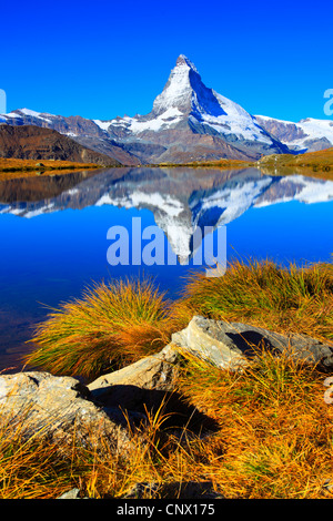 view from a mountain lake at the Matterhorn under clear blue sky, Switzerland, Valais - Stockfoto