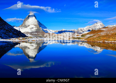 matterhorn refelcting in lake Riffel, Riffelsee, Switzerland, Valais - Stockfoto