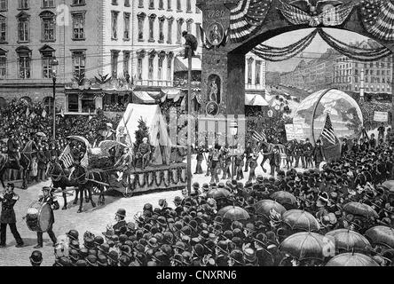 Parade on 1st May 1888 in New York, USA, historical engraving, about 1888 - Stock Photo