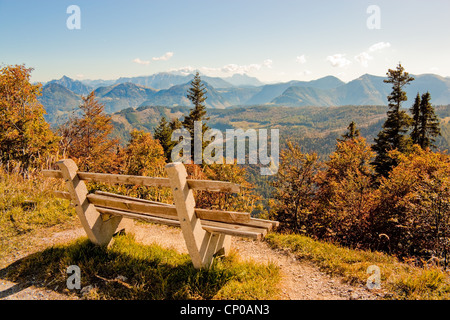 bench with a view of mountains in austrian alps near St. Gilgen - Stock Photo