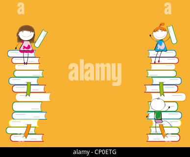 Happy colorful kids on many colorful books - Stock Photo