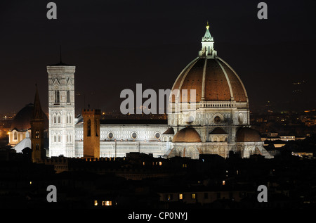 Florence Cathedral at night, in Florence, Tuscany, Italy - Stock Photo