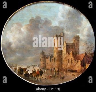 Patineurs devant un château médiéval - Skaters in front of a medieval castle 1637  by Jan Josefsz van Goyen 1596 - Stock Photo
