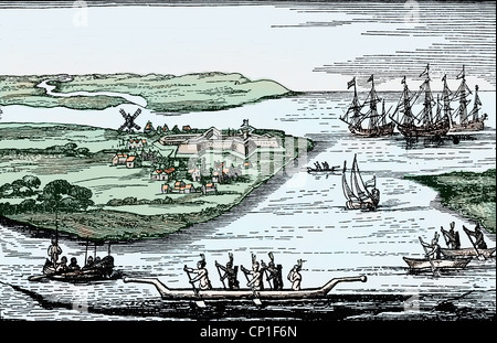geography / travel, United States of America, New York, first settlement Fort New Amsterdam of the Dutch, contemporary - Stock Photo