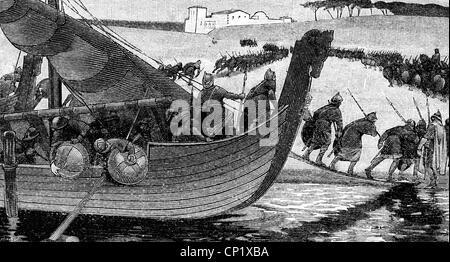 Middle Ages, Vikings, Norsemen attacking a monastery, wood engraving, 19th century, Frankish Empire, Viking ship, - Stock Photo