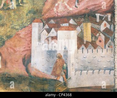 Trentino Alto Adige - Trento. Buonconsiglio Castle, Eagle Tower, Cycle of the month: November, detail. Fresco - Stock Photo