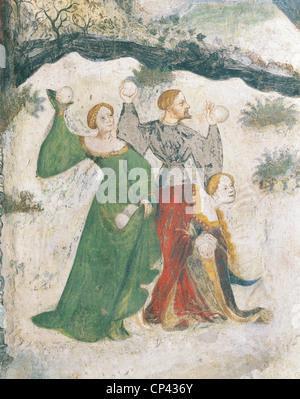 Trentino Alto Adige - Trento. Buonconsiglio Castle, Eagle Tower, Select month: January, detail. Fresco - Stock Photo