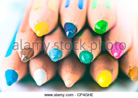 striped pencils of various colors - Stock Photo
