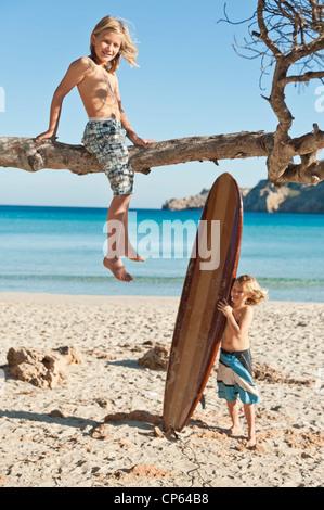 Spain, Mallorca, Children on beach - Stock Photo