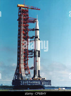 Apollo 11 Saturn V rocket from the Vehicle Assembly Building to the launch pad. - Stock Photo