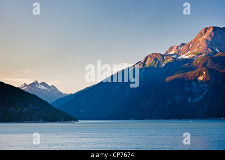 View across Lutak Inlet towards the Coastal Mountain Range and Mount Villard in the background, Haines, Southeast, - Stock Photo