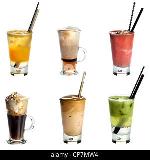 Collection of non alcoholic cocktails or drinks isolated on white background .Orange juice,Cappuccino,Fruity summer - Stock Photo