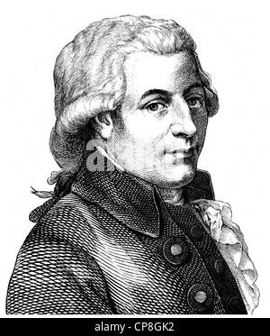 Wolfgang Amadeus Mozart, 1756 - 1791, a composer of the First Viennese School, Historische Zeichnung aus dem 19. - Stock Photo